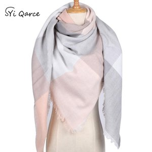SYi Qarce Top Sell Winter Warm Triangle Scarves Shawl Cashmere Plaid For Girl's Women Fashionable Outdoor Scarf NW085-22 Bandanas