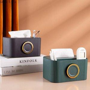 Tissue Boxes & Napkins Creative Nordic Light Luxury Ins Two-In-One Storage Box Desktop Remote Control Decorative Ornaments