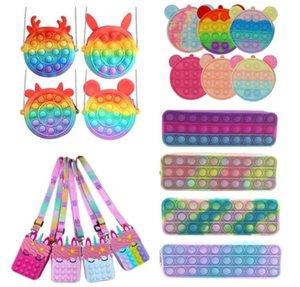 Fast Sound Coin Countle Push Bubble Case Case Fidget игрушки Rainbow Silicone Girls Bags AntiStress Стресс Reverever для детей взрослый CS07