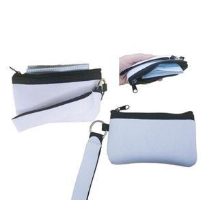 2021 Sublimação Imprimir cartão de identificação em branco Titular transferência de calor Impressão Neoprene Mini Mini Moeda Multifuncional Wristlet Wallets bolsas