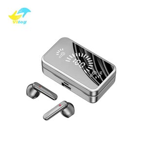Vitog S20 TWS v5.0 Bluetooth headphone mirror wireless headset mini smart touch earbud gaming earphone with LED display and microphone