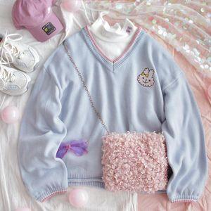 Retro cuello en v mujeres lindo suéter azul kawaii bordado chicas de punto jumper invierno suelto hembra jersey damas prendas de punto Swea Sweathe