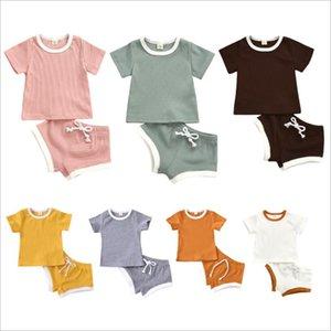 Baby Designs Одежда наборы одежды Младенческие девушки сплошные топы шорты наряды скользкие полосатые с короткими рукавами футболки с коротким рукавом брюки костюмы Детские летние наряд бутик 16 цвет LSK1791
