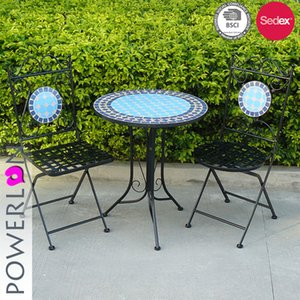 Günstiger Preis einzigartiger Design Metall Mosaik Tischstuhl Klappmöbel Set für Hinterhof