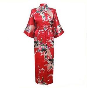 레이온 중국 여성 실크 도매 - 긴 빨간색 섹시한 잠옷 유카타 기모노 목욕 가운 잠옷 Pijama Feminino Pluxho4p7