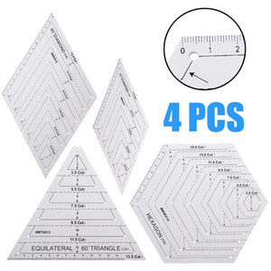 4 5 6pcs set Triangle Diamond Hexagon Quilting Ruler Stencil Set Diy Patchwork Craft For Paper Craftwork And Sewing Notions & Tools
