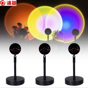Hızlı Kargo LED Gece Lambası USB Düğmesi Gökkuşağı Günbatımı Projektör Atmosfer Ev Arka Plan Duvar Dekorasyon için Renkli Lamba