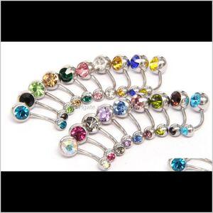 316L Surgical Steel Crystal Rhinestone Belly Bar Ring Body Jewelry Piercing Wcw640 Sejip Bell Upygx
