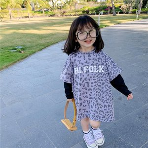 Girl's Dresses 1-7T Toddler Kid Baby Girl Clothes Long Sleeve Leopard T Shirt Dress Elegant Cute Sweet Loose Party Club Spring Streetwear
