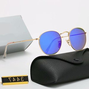 YXTJTJ Klasik Tasarım Marka Yuvarlak UV400 Gözlük Metal Altın Çerçeve Yasak Gözlük Erkek Kadın Ayna Cam Lens Kutusu Zre