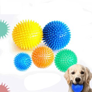 Pet Squeaky Chewing Ball Dog Soft Stab Toys Puppy Funny Interactive Chew TPR Toy for Dogs Resistant To Bite Cleaning Teeth Training Rubber Pets Supplies