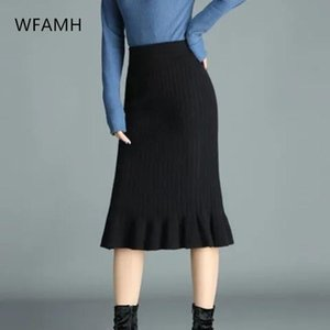 Skirts 2021 Spring Fashion Mid-length Half-length All-match Bag Hip Fishtail Skirt High-waist Thread Knitting Office Ladies Cotton