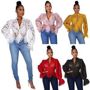 2021 solid color women's shirt hole sexy horn sleeve nightclub women's top A809