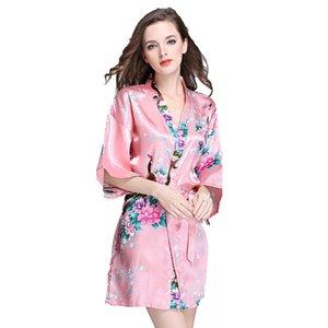 Night Pajama женщин свадебный халат лето рукава v шеи повседневная кимоно павлин цветок пижама шелковый домашний халат женские пижамы женские