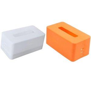 Tissue Boxes & Napkins 2PCS Rectangular Plastic Napkin Box Toilet Paper Dispenser Case Holder Home Office Decoration (White Orange)