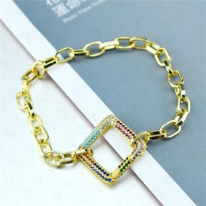 Link, Chain Rainbow Zircon Bracelet Square Button Pendant For Women Boho Jewlery Gift
