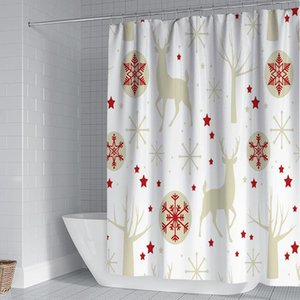 Shower Curtains Curtain Christmas With C-ring Polyester Bathroom Set Waterproof Holiday Decoration