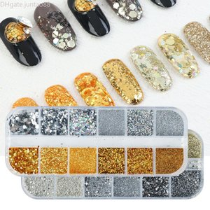 Various Style Holographic Nail Glitter Flakes Sequin 12pcs in 1 Rose Gold Silver DIY Butterfly Dipping Powder for Acrylic Nails Art Tools