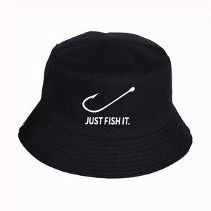 Просто рыба это смешно напечатанные шляпы ведра лето высокое качество рыбака шляпа рыбака женщин мужчин рыболова шляпа шляпы Snapback Q0805