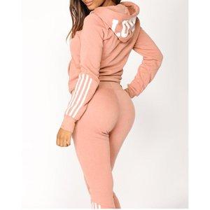 Mode Frauen Yoga Sets Lässige Streifen Reißverschluss Trainingsanzug Langarm Pullover Sport Tops + Lange Hose Set Herbst Winter Outfit
