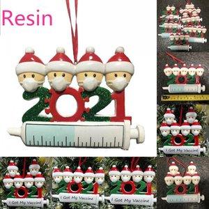 2021 New Christmas Decoration Quarantena Ornaments Materiale resina Famiglia di 1-9 teste ACCESSORI IN PENDENTE ALBERO DI TE con corda DHL Veloce