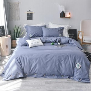 Bedding Sets 4Pcs Whole Cotton Embroidery Luxury Set Double King Queen Size Bed Soft Sheet Pillowcase