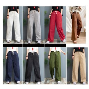 Ethnic Clothing 2021 Summer Women Pants Traditional Japanese Style Wide Leg Loose Elastic Waist Pure Color Linen Trousers Comfortable