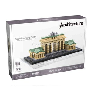 Lepining city classic Street view Germany Berlin Gate famous Brandenburg mini Micro Diamond Building Blocks model toys gift 1008