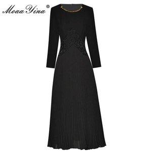 MoaaYina Fashion Runway Autumn Black Dress Women's O-neck Beading Splicing Long Pleated Dress G1011