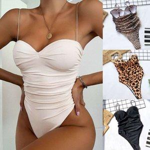 Mehuida Sexy Sunywear Haute Jambe Coup de maillot de bain pour femmes Léopard Imprimer Solide Maillot De Bain rembourré Push-up Bikini Set