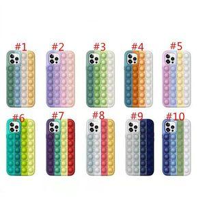 POP IT Fidget Case Casas de silicona de descompresión Casos para teléfono para teléfono 12 11 Pro XS MAX XR 7 8 PLUS HUAWEI MATE30 MATE40 P40 CPA2651
