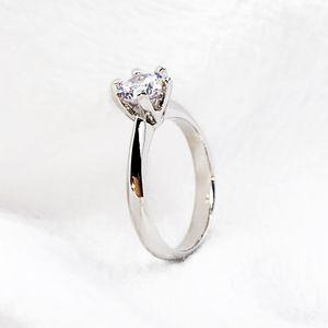 Классический дизайн шарм обручальные кольца женщины обещают вечное любовное кольцо циркона для женщин мода лакомства обручальные украшения оптом 2 цветное серебро розовое золото с коробкой