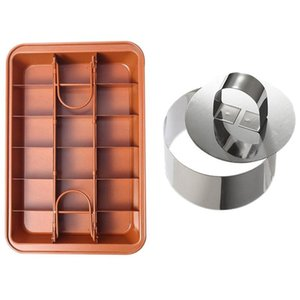 1 Pcs Non-Stick Brownie Pan Tin with Dividers,18-Cavity,12 By 8 Inches & 6 Pcs Cake Rings Cake Mousse Mold with Pusher
