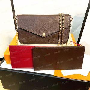 Top quality 3 piece suit Women Messenger Leather handbag Evening Bag Original box flower Luxurys Designers POCHETTE FeLICIE Shoulder bags checkers date code serial
