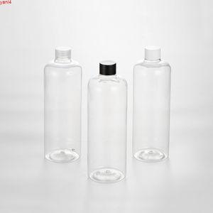 12pcs 500ML Plastic Screw Cap Bottles Clear PET Bottle With Black White Transparent Empty Cosmetic Bottlesgoods
