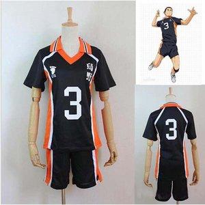 Anime Haikyuu costumes!! Karasuno High School #3 Azumane Asahi Volleyball Club Jersey Cosplay Costume Sports Wear Uniform S- XXL