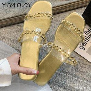 Yaz Kadın Sandalet Kare Toe Bayanlar YTMTLOY Mules Temizle PVC Şeffaf Terlik Kadın Moda Zinciri