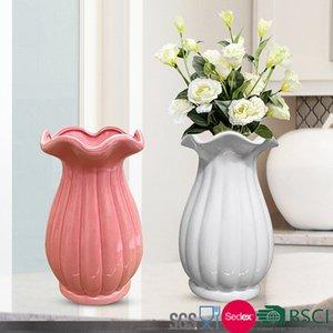 12 * 12 * 20cm Flor de cerámica Flor de cerámica Encantadora Jardiniere Decoración para el hogar Jarrones de cerámica Flor de encaje Solendenfisg