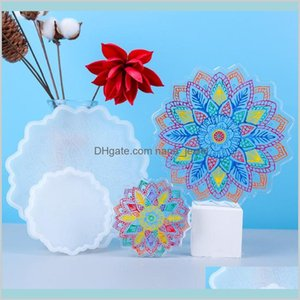 Resin Coaster Molds Textured Flower Diy Epoxy Resin Tray Mold Flower Tea Tray Coaster Epoxy Molds Suirs 37Zmn