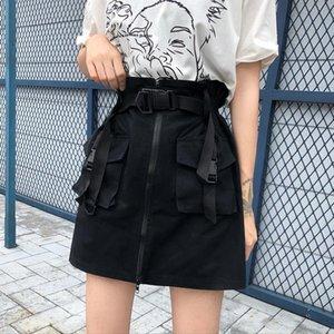 Skirts A Line Zipper Women Mini Cargo Pockets Sashes Bodycon Solid Ladies Short Skirt 2021 Summer Sexy Black Khaki Bottom Female