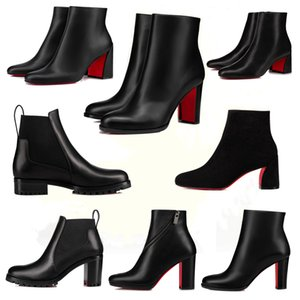 2021 Popular Trendy Women Short Booties Dress Ankle Boot Red Bottom Heels Boots,Luxury Reds Soles Heel Womens Pumps Turela Suede Ankles Boots ,With Box