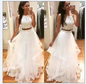 Великолепные белые платья выпускного вечера две части бисером кристаллы на ощупь длина пола плюс размер многоуровневая юбка на заказ у вечернее платье вечеринка Vestidos