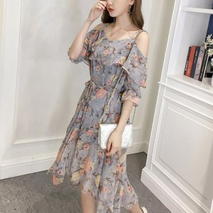 Maternity Dresses Ladies Chiffon Beach Sling Long Dress Floral Half Sleeve Strapless Printed Knee Korean 2021