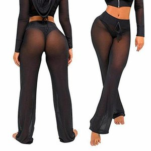 Womens 2021 Summer Belted Beach Mesh Bikini Cover Up Swimwear Transparent Long Pant Wide Leg Trousers Plus Size S-XL Women's