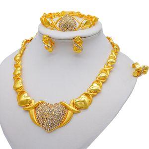 Earrings & Necklace Ethiopia 24K Gold Color Dubai Love Heart Shape Jewelry Sets Women African Party Wedding Gifts Bracelet Set