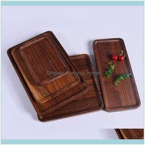 Dinnerware Kitchen, Dining Bar Home & Gardenrec Black Walnut Plates Delicate Kitchen Wood Fruit Vegetable Bread Cake Dishes Multi Size Tea F