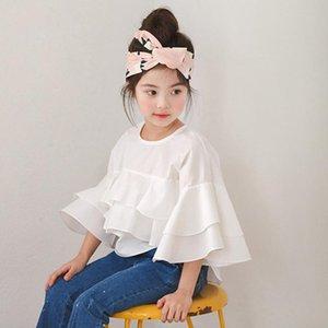 Shirts Girl 2021 Spring Summer Fashion White Lotus Leaf Baby Ruffle Sleeve Blouse Princess Elegant LZ707