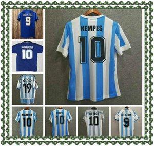 1986 الأرجنتين لكرة القدم جيرسي ريترو مارادونا 94 كوبا أمريكا 78 خمر كلاسيكي ميسي أغويرا إيكاردي لكرة القدم قميص