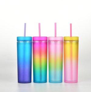 La dernière tasse de café de paille en plastique de 16oz avec une couleur et un couvercle en gradient, une tasse d'eau de style arc-en-ciel, un emballage de boîte, un support pour le logo personnalisé