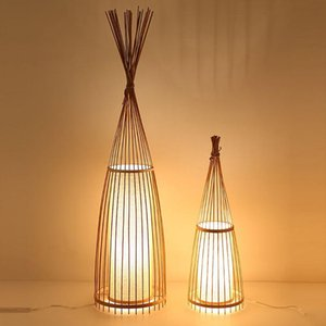 Chinese Style Floor Lamp Modern For Living Room Bedroom Handmade Bamboo Wood Standing Decoration Indoor Lighting Lamps